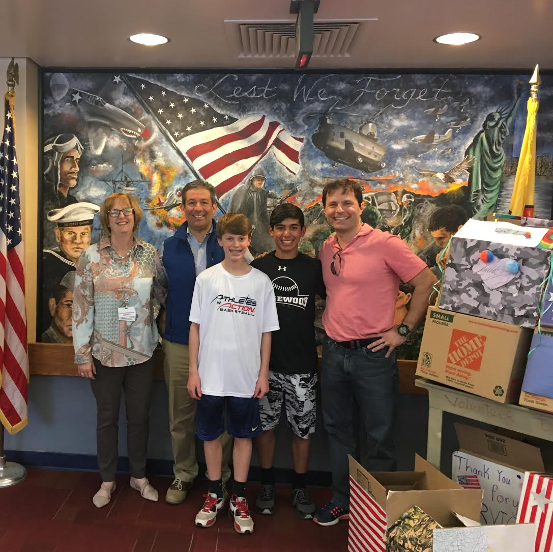 Pictured from left to right Susan Moran - Director of Volunteer Services (Paramus Veterans Home) Dave Tashian - BFMS Student Council Co-Advisor Hayden Blair - BFMS Student Council Secretary Jake Kleiman - BFMS Student Council President Jason Ordini -  BFMS Student Council Co-Advisor