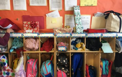 Gifts waiting to be opened in one of the classrooms.